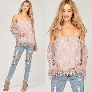 CAYMIE Off Shoulder Lace Top - BLUSH